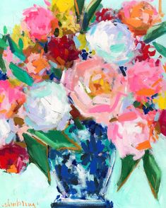 Love this ginger jar painting for my home! // girly home decor // Abstract flower painting // colorful floral in ginger jar // Flowers In Vase Painting, Abstract Flowers, Jar Painting, Rose Art, Arte Floral, Painting Patterns, Large Art, Flower Art, Inspiration