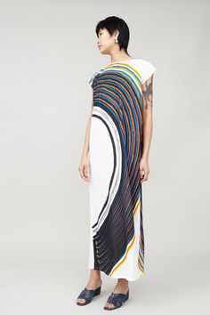 Image of Anntian Long Slim Dress Jersey in Big Circle Paint