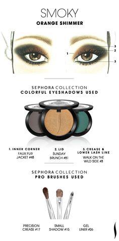 SMOKY: Orange Shimmer HOW TO. #sephora #sephoracollection #eyeshadow