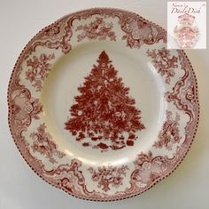 Red / Pink Transferware Plate Christmas Tree w/ Ribbons & Toys Underne