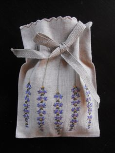 Zero waste embelished bags. French Hand Embroidered Lavander Sachets by Vintagefrenchlinens