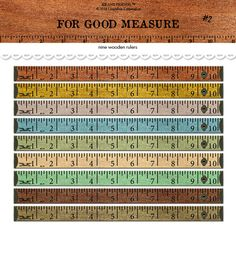 Kathryn Balint: Digital wooden rulers / tape measure / vintage wood / altered art / embellishment / downloadable / printable