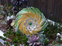 Drought Resistant Plate Flower. #125.            Garden Yard Art glass and ceramic plate flower