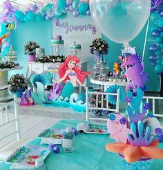 24 Disney First Birthday Party Themes That Are So Good, Walt Himself Would Be Proud Mermaid Birthday Party Decorations Diy, First Birthday Party Themes, Mermaid Theme Birthday, Little Mermaid Birthday, Little Mermaid Parties, Birthday Backdrop, Teen Birthday, First Birthdays, Glow Party
