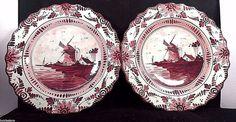 2 Antique Ceramic Delftse Pauw DP Delft Holland  Windmill wall Hanging Plate