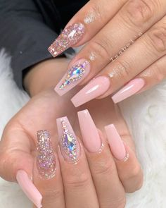 Perfect Summer Nails Art Designs 2019 letmebeauty net is part of Pretty nails Pink Peaches - Pretty nails Pink Peaches Bling Acrylic Nails, Summer Acrylic Nails, Best Acrylic Nails, Rhinestone Nails, Gel Nails, Summer Nails, Bling Nail Art, Rhinestone Nail Designs, Ombre Nail Art