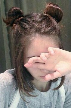 Half Down Half Up + Double Top  Knot + Brown