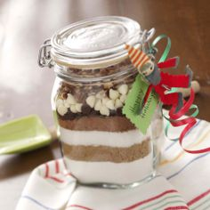 Brownie Sand Art Recipe from Taste of Home -- shared by Claudia Temple of Sutton, West Virginia  #Christmas_Recipe_in_a_Jar