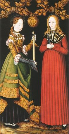 Saints Genevieve and Apollonia by Lucas Cranach the Elder, 1506. (National Gallery, London)