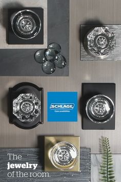 Add glamour and style to any room with Schlage Custom glass door knobs. Black Accent Table, Glass Door Knobs, Custom Glass, Eclectic Style, Glass Design, Diy Room Decor, Home Remodeling, Just In Case, Home Improvement