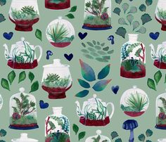 Terrarium Love fabric by alchemy_tea on Spoonflower - custom fabric - NUMBER 7 of the Terrariums Contest on Spoonflower! Congrats! :-)