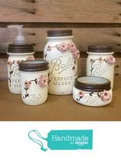 Shabby Chic Ivory and Rose Vintage Mason Jar Bathroom Set or Office Desk Organizer from AmericanaGloriana Mason Jar Art, Vintage Mason Jars, Mason Jar Bathroom, Mason Jar Gifts, Painted Mason Jars, Bathroom Canisters, Crafts With Mason Jars, Jar Crafts, Bottle Crafts