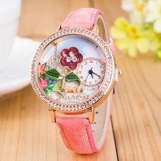 Fashion Women Girls 3D Flower Pastoral Crystal Canvas Denim Band Quartz Wrist Watch