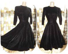 Vintage 1950s Black Velvet Full Sweep Dress Sz L by IntrigueU4Ever, $115.00