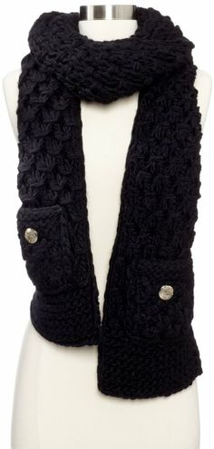 This pre-made crochet scarf cost around $70.00 !!!!  Amazon.com: Vince Camuto Women's Tuck Stitch Crochet Border Muffler, Black, One Size: Clothing