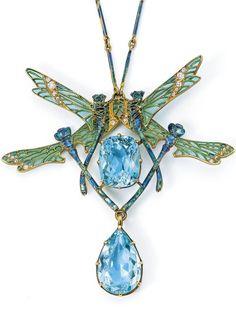 "René Lalique ""QUATRE LIBELLULES"" PENDANT NECKLACE gold, aquamarine, diamond and enamel pendant signed LALIQUE 19 1/2 in. (49.5 cm) long circa 1903-1904"