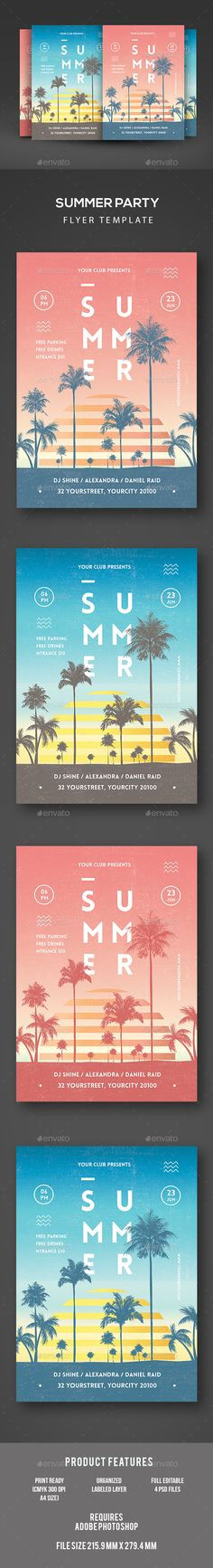 Vintage Modern PSD Summer Party  Template • Only available here ➝ http://graphicriver.net/item/summer-party/16448473?ref=pxcr