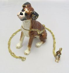 New Trinket Box Gift Crystals Brown Boxer Dog Animal Necklace