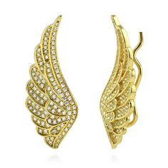 BERRICLE Yellow Gold Flashed Sterling Silver Cubic Zirconia CZ Angel Wings Fashion Ear Crawlers -- You can find more details by visiting the image link.-It is an affiliate link to Amazon. #Earring
