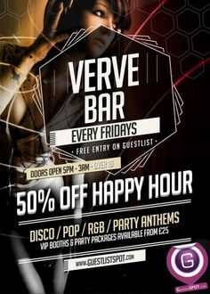 Fridays at Verve Bar at Verve Bar on Friday, 9th January 2015. Events in bars and nightclubs in London - GuestlistSPOT.com.