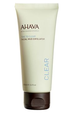#leapingbunnyfaves AHAVA 'Time to Clear' Facial Mud Exfoliator available at #Nordstrom $27.50 Great for improving skin texture! Gentle face scrub removes dead surface cells with exfoliating action. Stimulates cell renewal while purifying skin, leaving it smooth and clear. The Osmoter™ improves skin's moisture level, leaving it clarified and hydrated.