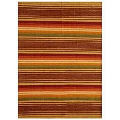 @Overstock.com - Hand-woven Jute/ Cotton Multicolor Rug (4' x 6') - This rug features hand-woven jute and cotton construction with a versatile 0.33-inch flat-weave pile. This multicolor rug also features a bold stripe pattern with accents of brown, green, orange, tan and beige.  http://www.overstock.com/Home-Garden/Hand-woven-Jute-Cotton-Multicolor-Rug-4-x-6/5125992/product.html?CID=214117 $60.19