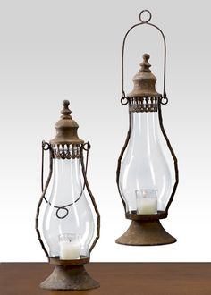Antique Rust Standard Lantern Vintage Oil Lamp Look Wedding Event Prop