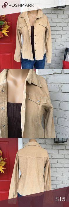 Light tan corduroy fringe hem jacket Light tan and lighter weight corduroy jacket with fringe hem and snap button closure in front and on sleeves. Size 15 (junior) but best fits Women's M/L No Boundaries Jackets & Coats
