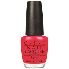 OPI Nail Lacquer Red Light Ahead…Where? (25 AUD) ❤ liked on Polyvore featuring beauty products, nail care, nail polish, beauty, nails, makeup, opi nail polish, opi nail varnish, opi nail color and red nail polish