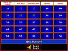 This site lets you create Jeopardy games. Could be fun on the smart board for school parties also.