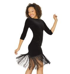 Velvet Dress with Fringe and Brief,N7038BLKM,Black,Medium