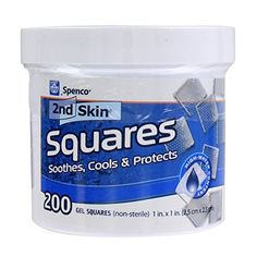 Spenco 2nd Skin Squares Soothing Protection for Blisters, Hot Spots and Skin Irritations, Gel Squares 200-Count  Medical-grade gel adhesive squares sooth, cool, and protect against hot spots, blisters, chafing and friction  Hypoallergenic, latex free, and non-medicated, these hydrogel squares can be used for scrapes, cuts and burns  Made mostly from water so the dressings will not stick to the skin for painless removal  Ideal for use in clinics, training rooms, and first aid kits  200 ...