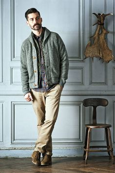 AIGLE Fall/Winter 2014 Collection : Inspired by the lives of those working outdoors in the forest, underground in the mines and at sea, Boho Outfits, Casual Outfits, Casual Clothes, Autumn Family Photos, Mens Lace Up Boots, Fall Winter 2014, Timeless Fashion, Vintage Men, Casual Shirts