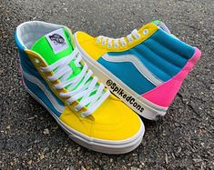 Custom Vans It's A Spring Thing -Big Kids/Adults Men Women Hot Pink Yellow Turquoise & Lime Green Take a look at some cool Visit Our Site for more Cool Content for and Custom High Top Vans, Custom Vans Shoes, Mens Vans Shoes, Yellow Turquoise, Pink Yellow, Hot Pink, Vans Old Skool Low, Vans Shoes Fashion, Studded Converse