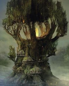 Wow this is a pretty nice fantasy tree house Fantasy Places, Fantasy World, Fantasy House, Fantasy City, Fantasy Castle, High Fantasy, Fantasy Artwork, Cool Tree Houses, Houses Houses