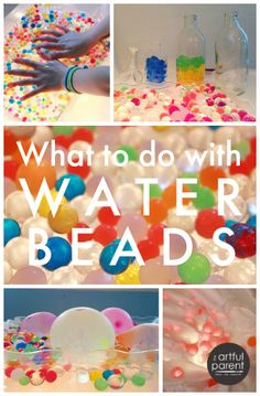 Wondering what to do with water beads? This post shares where to get water beads, how to hydrate them, and some of the fun things kids can do with them, including lots of ideas for sensory play and learning. via Artful Parent Sensory Tubs, Sensory Bottles, Sensory Activities, Sensory Play, Preschool Activities, Indoor Activities, Summer Activities, Family Activities, Water Play Activities