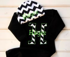 Chevron Personalized Infant Baby Gown Layette with Beanie Hat Appliqued and Monogrammed Baby Boy Girl Coming Home Outfit Black