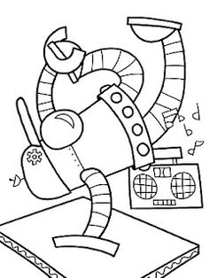 many robot coloring pages. love this breakin dude.