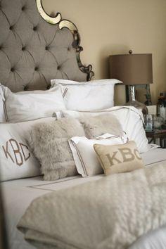 Horchow headboard, monogrammed pillows