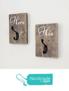 His Hers Towel Hook Rack Rustic Primitive Barn Wood Farmhouse Bathroom Decor Wall Art Two Hooks Bridal Shower Wedding Gift Valentine's Day from Sweet Bella Stationery