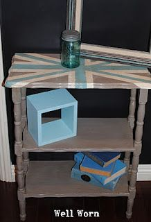 Union Jack Table with CoCo, Old White & Provence.  All Annie Sloan Chalk Paint™ Colors.