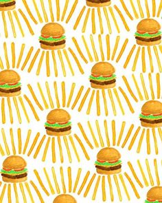 Burger and fries by bouffants and broken hearts patterns в 2
