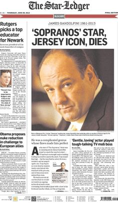 """The Star-Ledger,"" Tony Soprano's hometown paper, observes James Gandolfini's death."