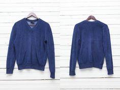 1980's Vintage Dark Blue Velvet V Neck Sweater / by MrCoverVintage, $27.00