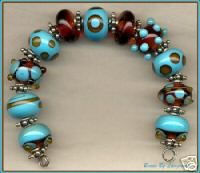 Turquoise & Topaz Lampwork Beads Handmade Glass Bead