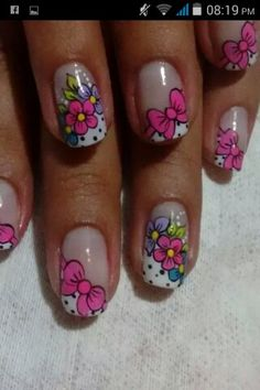 Cute Nail Art Ideas to Try - Nailschick Funky Nail Art, Floral Nail Art, Cute Nail Art, Cute Nails, French Nails, Hair And Nails, My Nails, Luminous Nails, Toe Nail Designs