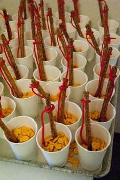 fishers of men snack made fishing poles of pretzels and licorice, with goldfish crackers.
