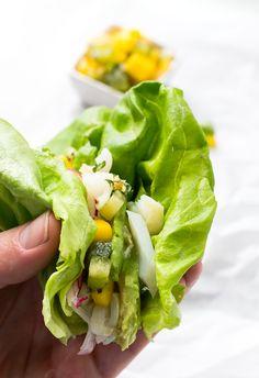 Easy AIP/Paleo Lettuce Wrap Fish Tacos, with Mango Kiwi Salsa ~ so fresh!
