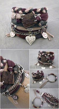 Grape Purple Boho Bracelet Set Gypsy Bracelet #bohème