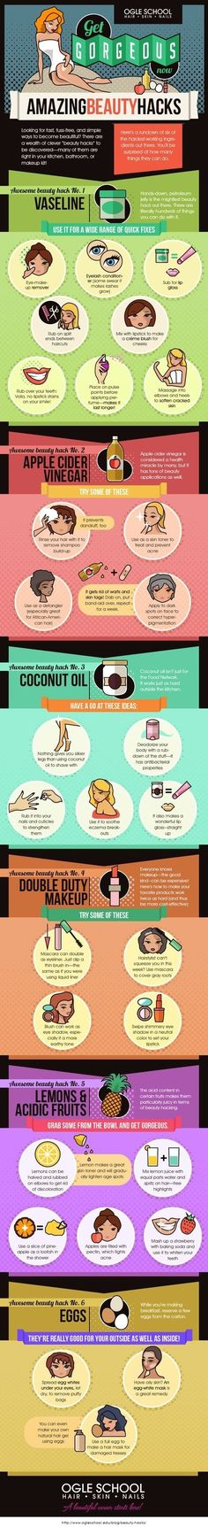 Six awesome beauty hacks using Vaseline, apple cider vinegar, coconut oil, acidic fruits, eggs and double duty makeup.. :)